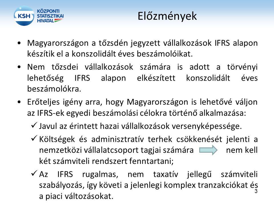 Előzmények Magyarországon a tőzsdén jegyzett vállalkozások IFRS alapon készítik el a konszolidált éves beszámolóikat. Nem tőzsdei vállalkozások számár