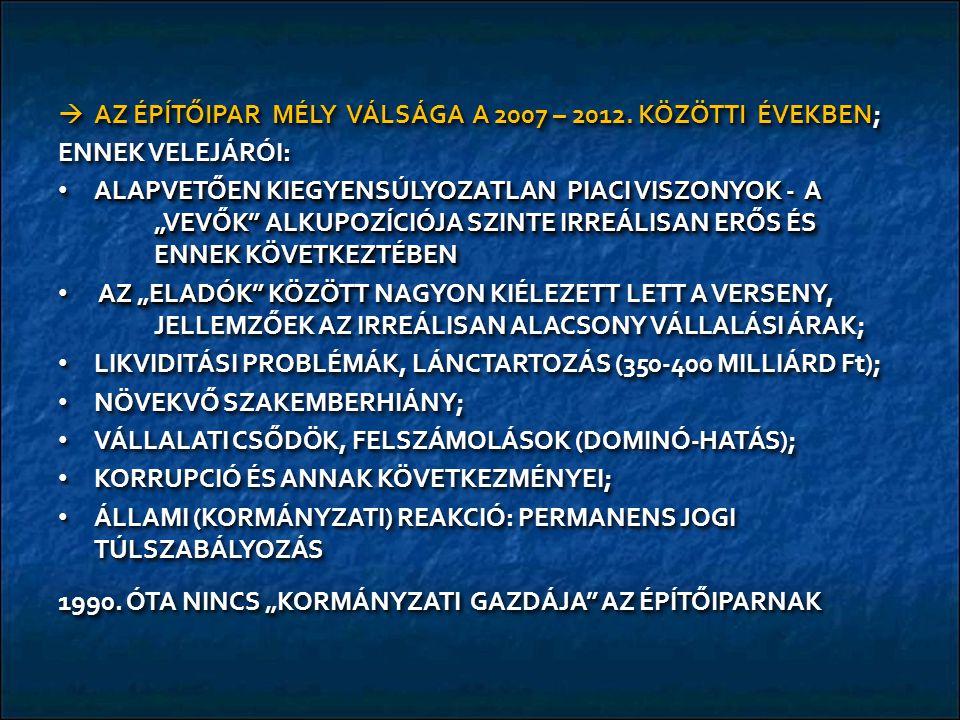  AZ ÉPÍTŐIPAR MÉLY VÁLSÁGA A 2007 – 2012.