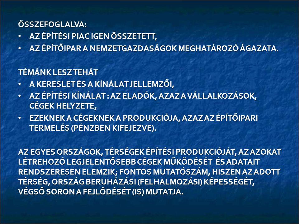 A 2008-13 KÖZÖTTI IDŐSZAK EU-FEJLESZTÉSI FORRÁSAI: EURÓPAI REGIONÁLIS FEJLESZTÉSI ALAP (ERFA) ~ 4.161 MD Ft, EURÓPAI REGIONÁLIS FEJLESZTÉSI ALAP (ERFA) ~ 4.161 MD Ft, EURÓPAI SZOCIÁLIS ALAP ~ 1.195 MD Ft, EURÓPAI SZOCIÁLIS ALAP ~ 1.195 MD Ft, KOHÉZIÓS ALAP ~ 2.844 MD Ft, KOHÉZIÓS ALAP ~ 2.844 MD Ft, ÁRFOLYAMTÓL FÜGGŐEN ÖSSZESEN MINTEGY 8.200 MD Ft AZ EHHEZ KIALAKÍTOTT HAZAI RENDSZER: AZ ÚJ MAGYARORSZÁG FEJLESZTÉSI TERV (ÚMFT, 2008 - 2013), MAJD ÚJ SZÉCHENYI TERV (ÚSzT), MENET KÖZBEN (2011-2012-BEN) GYÖKERESEN ÁTALAKULT INTÉZMÉNYRENDSZER (PÉLDÁUL MEGSZŰNT AZ NEMZETI FEJLESZTÉSI ÜGYNÖKSÉG, HELYETTE A MINISZTERELNÖKSÉGHEZ KERÜLTEK AZ ÜGYEK), ENNEK AZ ÖSSZEGNEK MINTEGY 60 %-ÁT AZ ÉPÍTŐIPAR MUNKÁJA RÉVÉN KÖLTÖTTÉK (VOLNA) EL, RÉVÉN KÖLTÖTTÉK (VOLNA) EL, AZAZ KB.