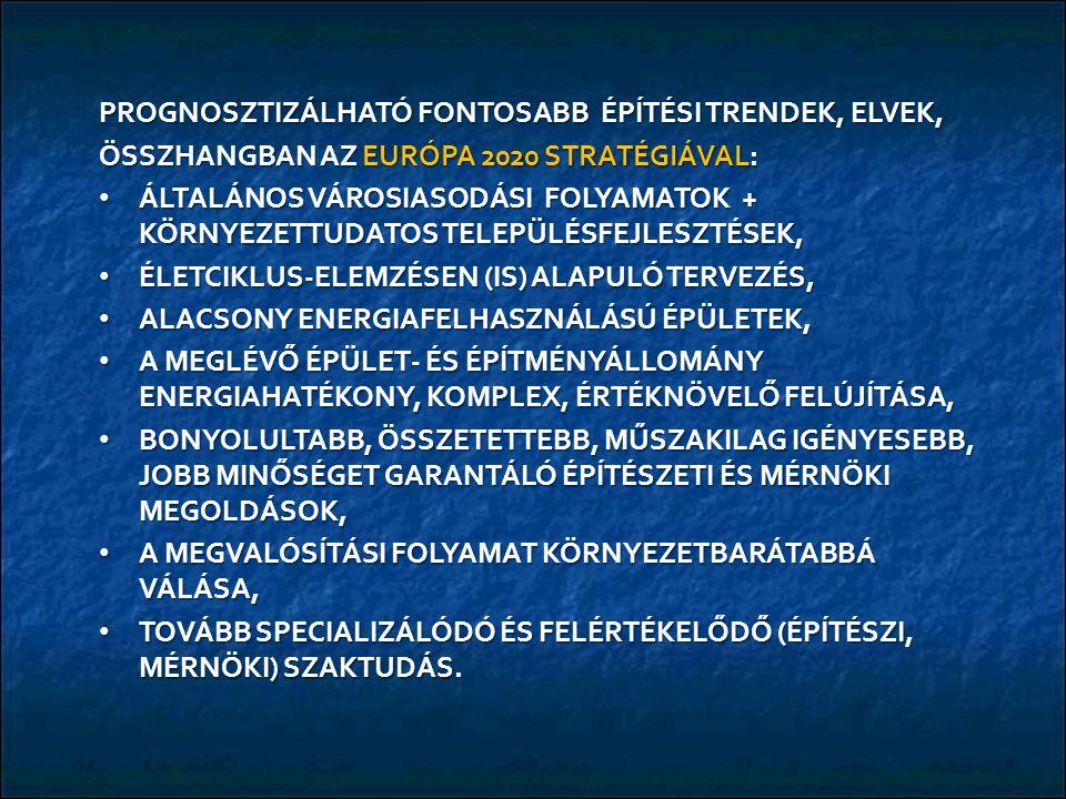 PROGNOSZTIZÁLHATÓ FONTOSABB ÉPÍTÉSI TRENDEK, ELVEK, ÖSSZHANGBAN AZ EURÓPA 2020 STRATÉGIÁVAL: ÁLTALÁNOS VÁROSIASODÁSI FOLYAMATOK + KÖRNYEZETTUDATOS TELEPÜLÉSFEJLESZTÉSEK, ÁLTALÁNOS VÁROSIASODÁSI FOLYAMATOK + KÖRNYEZETTUDATOS TELEPÜLÉSFEJLESZTÉSEK, ÉLETCIKLUS-ELEMZÉSEN (IS) ALAPULÓ TERVEZÉS, ÉLETCIKLUS-ELEMZÉSEN (IS) ALAPULÓ TERVEZÉS, ALACSONY ENERGIAFELHASZNÁLÁSÚ ÉPÜLETEK, ALACSONY ENERGIAFELHASZNÁLÁSÚ ÉPÜLETEK, A MEGLÉVŐ ÉPÜLET- ÉS ÉPÍTMÉNYÁLLOMÁNY ENERGIAHATÉKONY, KOMPLEX, ÉRTÉKNÖVELŐ FELÚJÍTÁSA, A MEGLÉVŐ ÉPÜLET- ÉS ÉPÍTMÉNYÁLLOMÁNY ENERGIAHATÉKONY, KOMPLEX, ÉRTÉKNÖVELŐ FELÚJÍTÁSA, BONYOLULTABB, ÖSSZETETTEBB, MŰSZAKILAG IGÉNYESEBB, JOBB MINŐSÉGET GARANTÁLÓ ÉPÍTÉSZETI ÉS MÉRNÖKI MEGOLDÁSOK, BONYOLULTABB, ÖSSZETETTEBB, MŰSZAKILAG IGÉNYESEBB, JOBB MINŐSÉGET GARANTÁLÓ ÉPÍTÉSZETI ÉS MÉRNÖKI MEGOLDÁSOK, A MEGVALÓSÍTÁSI FOLYAMAT KÖRNYEZETBARÁTABBÁ VÁLÁSA, A MEGVALÓSÍTÁSI FOLYAMAT KÖRNYEZETBARÁTABBÁ VÁLÁSA, TOVÁBB SPECIALIZÁLÓDÓ ÉS FELÉRTÉKELŐDŐ (ÉPÍTÉSZI, MÉRNÖKI) SZAKTUDÁS.