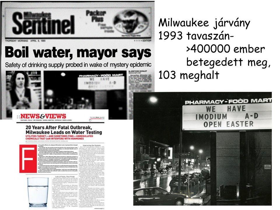 Milwaukee járvány 1993 tavaszán- >400000 ember betegedett meg, 103 meghalt