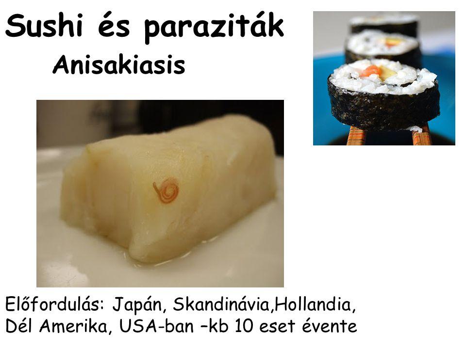 Sushi és paraziták Anisakiasis Előfordulás: Japán, Skandinávia,Hollandia, Dél Amerika, USA-ban –kb 10 eset évente