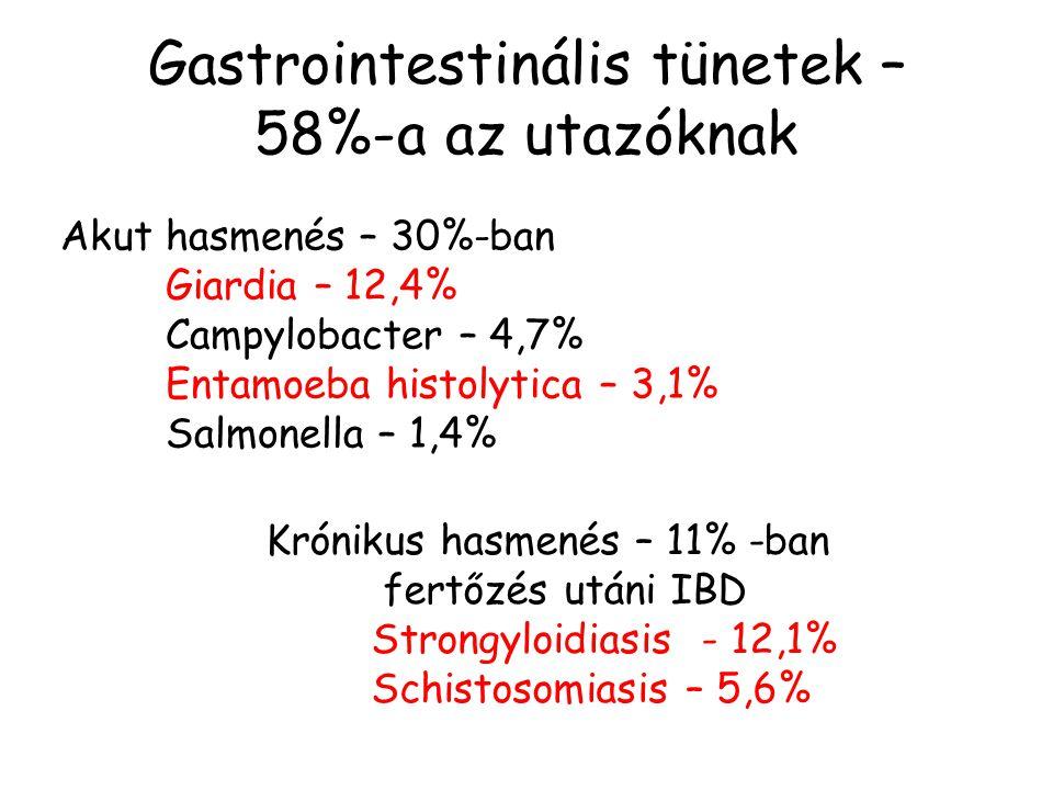 Gastrointestinális tünetek – 58%-a az utazóknak Akut hasmenés – 30%-ban Giardia – 12,4% Campylobacter – 4,7% Entamoeba histolytica – 3,1% Salmonella –