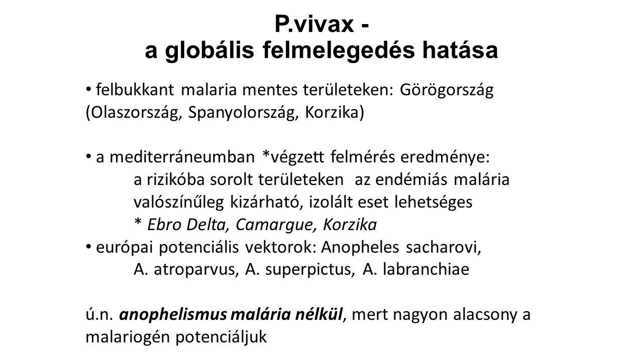P.vivax - a globális felmelegedés hatása felbukkant malaria mentes területeken: Görögország (Olaszország, Spanyolország, Korzika) a mediterráneumban *
