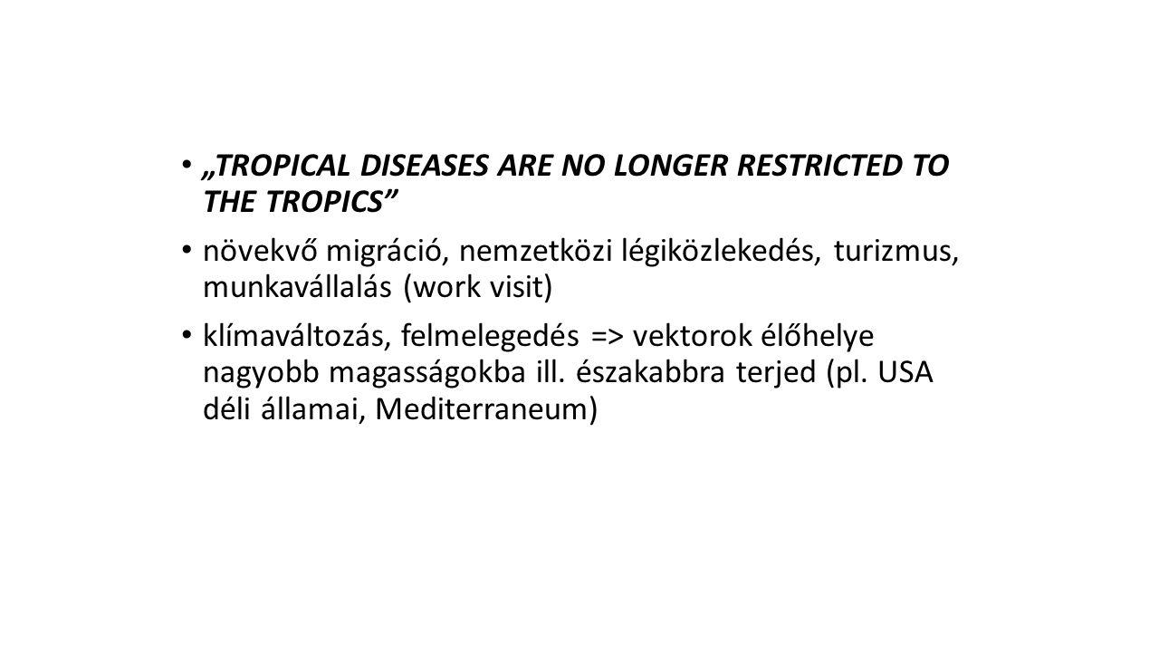 """""""TROPICAL DISEASES ARE NO LONGER RESTRICTED TO THE TROPICS"""" növekvő migráció, nemzetközi légiközlekedés, turizmus, munkavállalás (work visit) klímavál"""