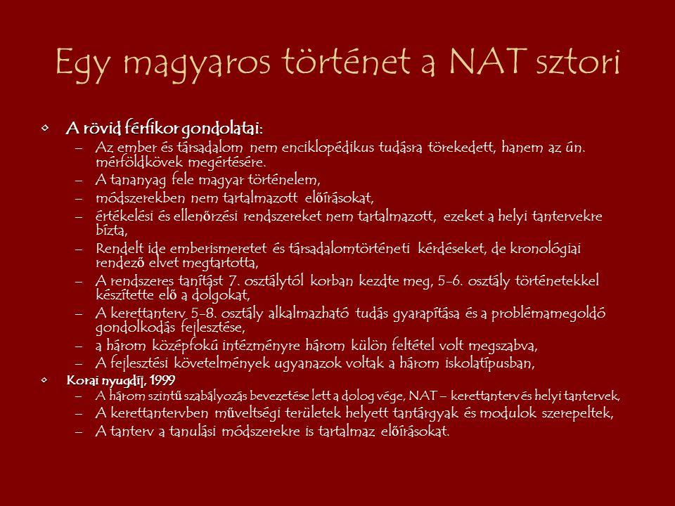 Egy magyaros történet a NAT sztori A rövid férfikor gondolatai:A rövid férfikor gondolatai: –Az ember és társadalom nem enciklopédikus tudásra törekedett, hanem az ún.