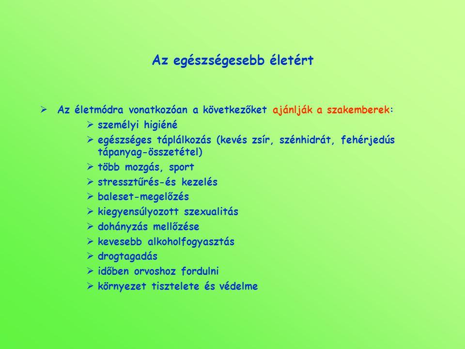 Az egészségesebb életért  Az életmódra vonatkozóan a következőket ajánlják a szakemberek:  személyi higiéné  egészséges táplálkozás (kevés zsír, sz