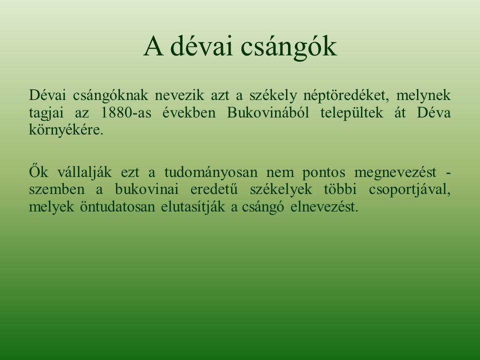 A dévai csángók Dévai csángóknak nevezik azt a székely néptöredéket, melynek tagjai az 1880-as években Bukovinából települtek át Déva környékére. Ők v
