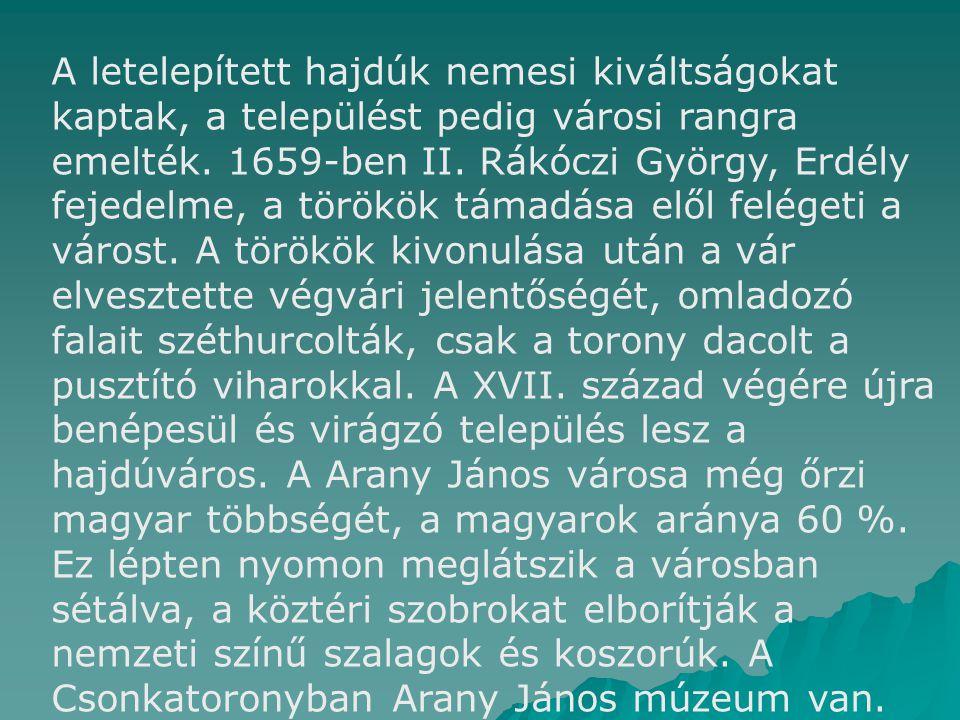 A letelepített hajdúk nemesi kiváltságokat kaptak, a települést pedig városi rangra emelték. 1659-ben II. Rákóczi György, Erdély fejedelme, a törökök