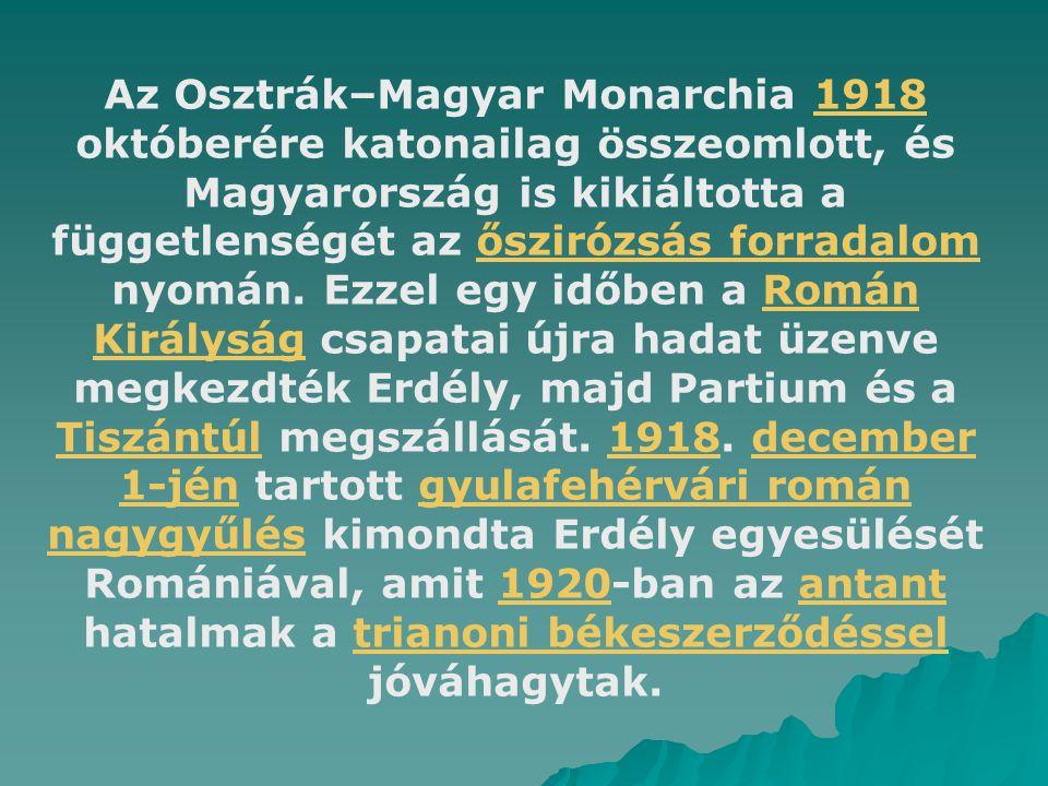 Az Osztrák–Magyar Monarchia 1918 októberére katonailag összeomlott, és Magyarország is kikiáltotta a függetlenségét az őszirózsás forradalom nyomán. E
