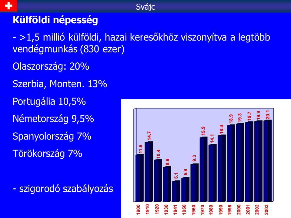 Külföldi népesség - >1,5 millió külföldi, hazai keresőkhöz viszonyítva a legtöbb vendégmunkás (830 ezer) Olaszország: 20% Szerbia, Monten. 13% Portugá
