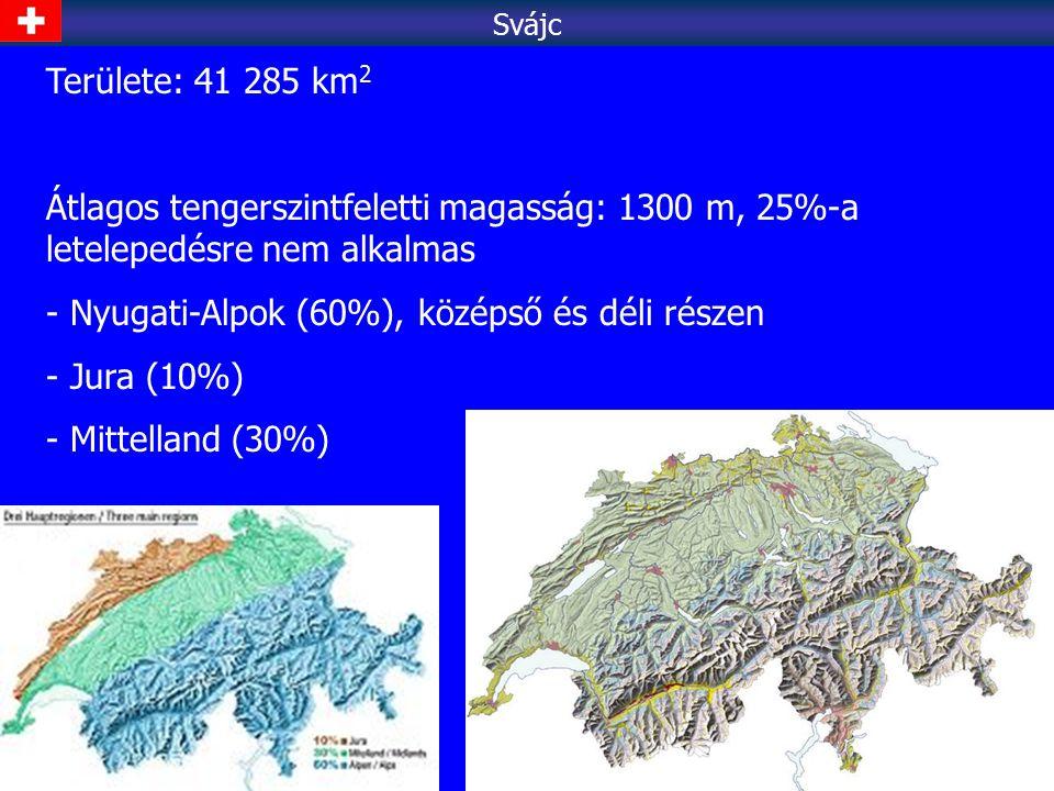Területe: 41 285 km 2 Átlagos tengerszintfeletti magasság: 1300 m, 25%-a letelepedésre nem alkalmas - Nyugati-Alpok (60%), középső és déli részen - Ju