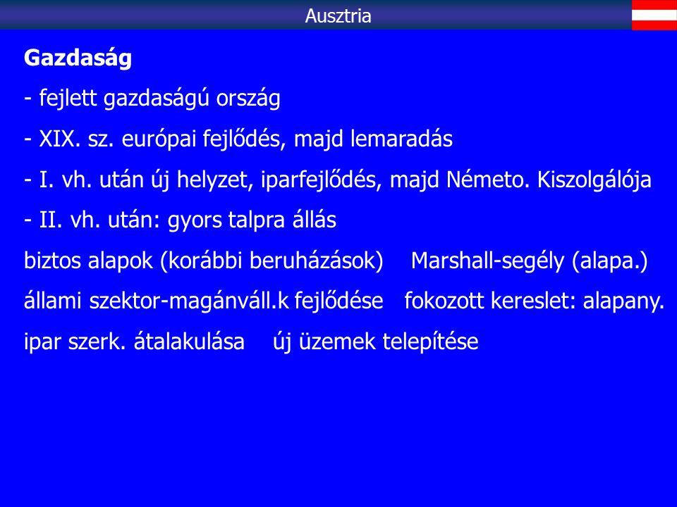 Ausztria Gazdaság - fejlett gazdaságú ország - XIX. sz. európai fejlődés, majd lemaradás - I. vh. után új helyzet, iparfejlődés, majd Németo. Kiszolgá