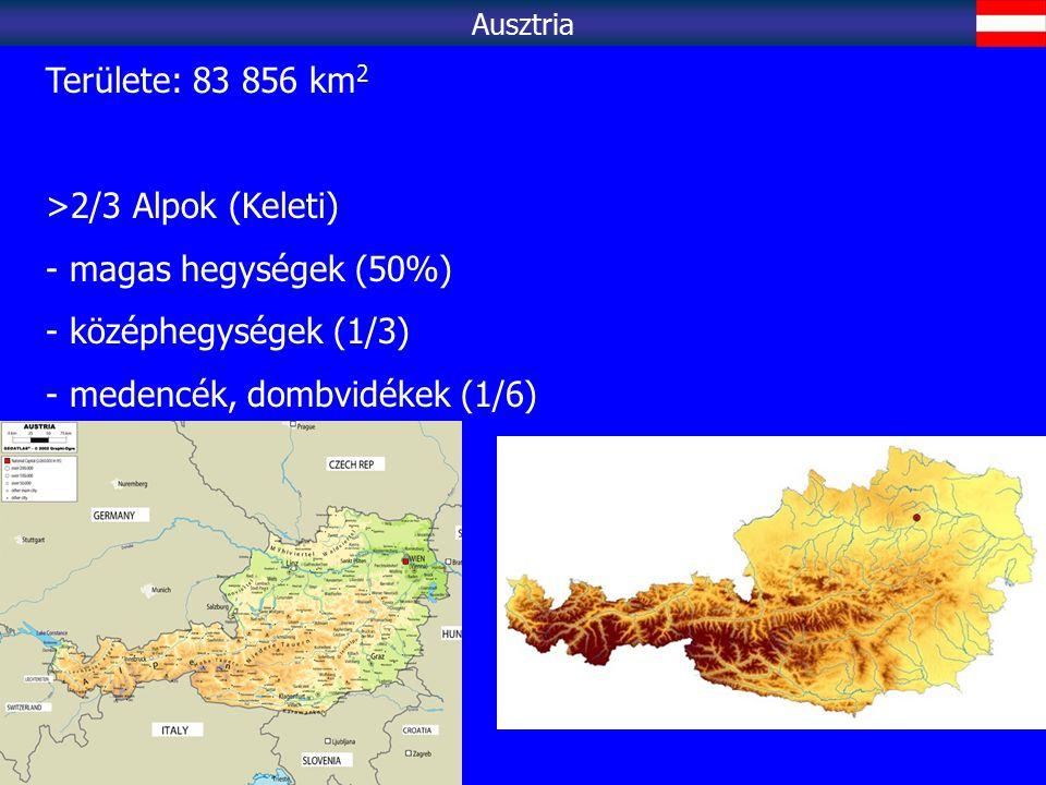 Területe: 83 856 km 2 >2/3 Alpok (Keleti) - magas hegységek (50%) - középhegységek (1/3) - medencék, dombvidékek (1/6) Ausztria