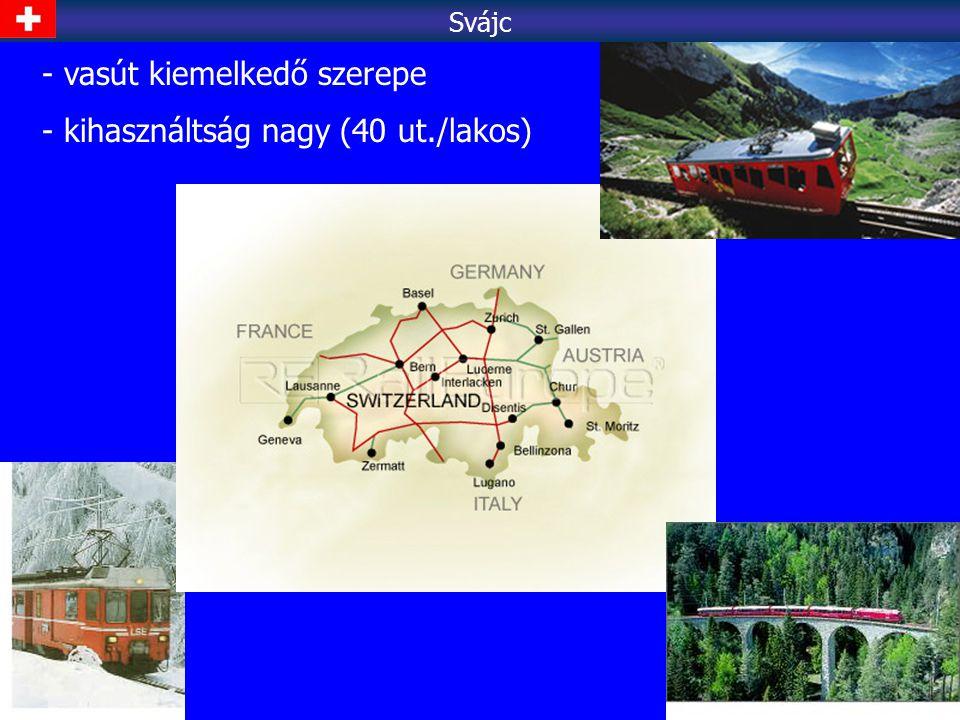 - vasút kiemelkedő szerepe - kihasználtság nagy (40 ut./lakos) Svájc