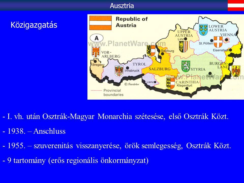 Jelentős idegenforgalom (Alpi turizmus, szállók-falusi turizmus, Bécs, Salzburg stb.) - 2004: 20 millió turista, 16 milliárd $ bevétel Ausztria