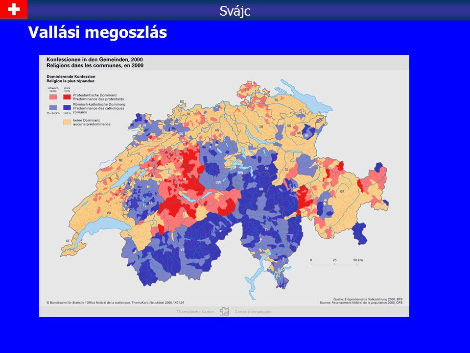Népsűrűség - 180 fő/km 2 - lakosság 3/4-e Mittellandon él, 1/7 Alpok Svájc