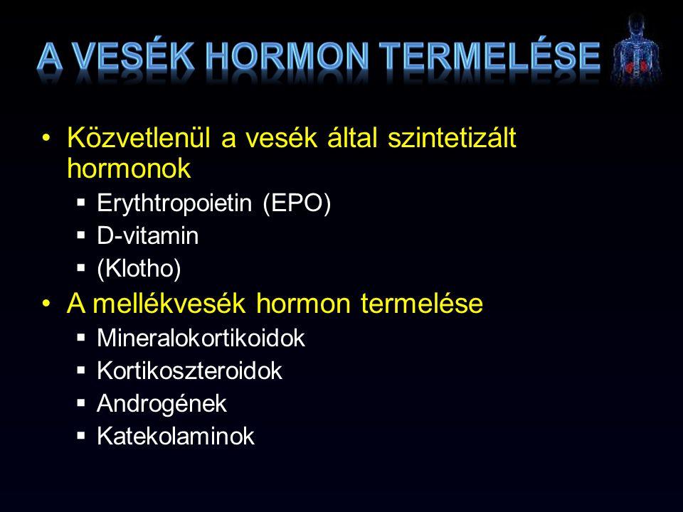 Közvetlenül a vesék által szintetizált hormonok  Erythtropoietin (EPO)  D-vitamin  (Klotho) A mellékvesék hormon termelése  Mineralokortikoidok 