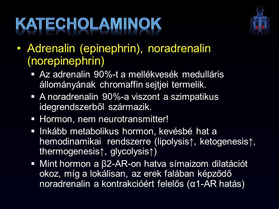 Adrenalin (epinephrin), noradrenalin (norepinephrin)  Az adrenalin 90%-t a mellékvesék medulláris állományának chromaffin sejtjei termelik.  A norad
