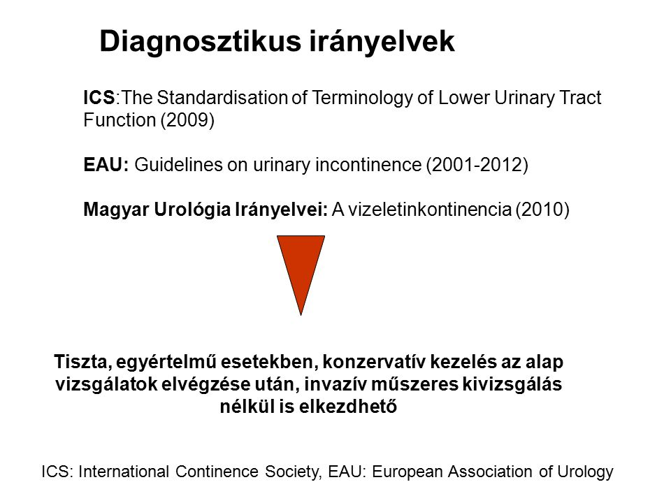 Diagnosztikus irányelvek ICS:The Standardisation of Terminology of Lower Urinary Tract Function (2009) EAU: Guidelines on urinary incontinence (2001-2