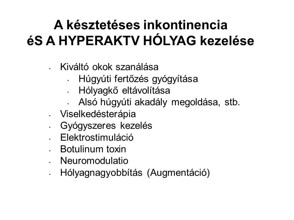 A késztetéses inkontinencia éS A HYPERAKTV HÓLYAG kezelése Kiváltó okok szanálása Húgyúti fertőzés gyógyítása Hólyagkő eltávolítása Alsó húgyúti akadá
