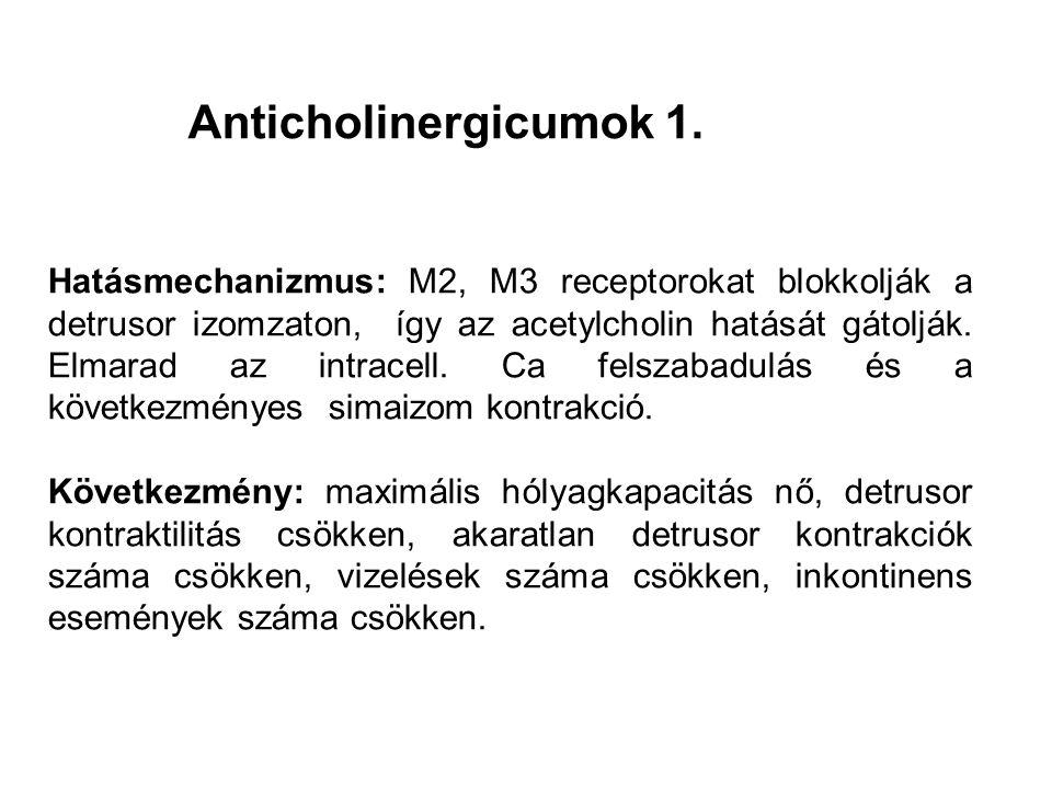 Hatásmechanizmus: M2, M3 receptorokat blokkolják a detrusor izomzaton, így az acetylcholin hatását gátolják.