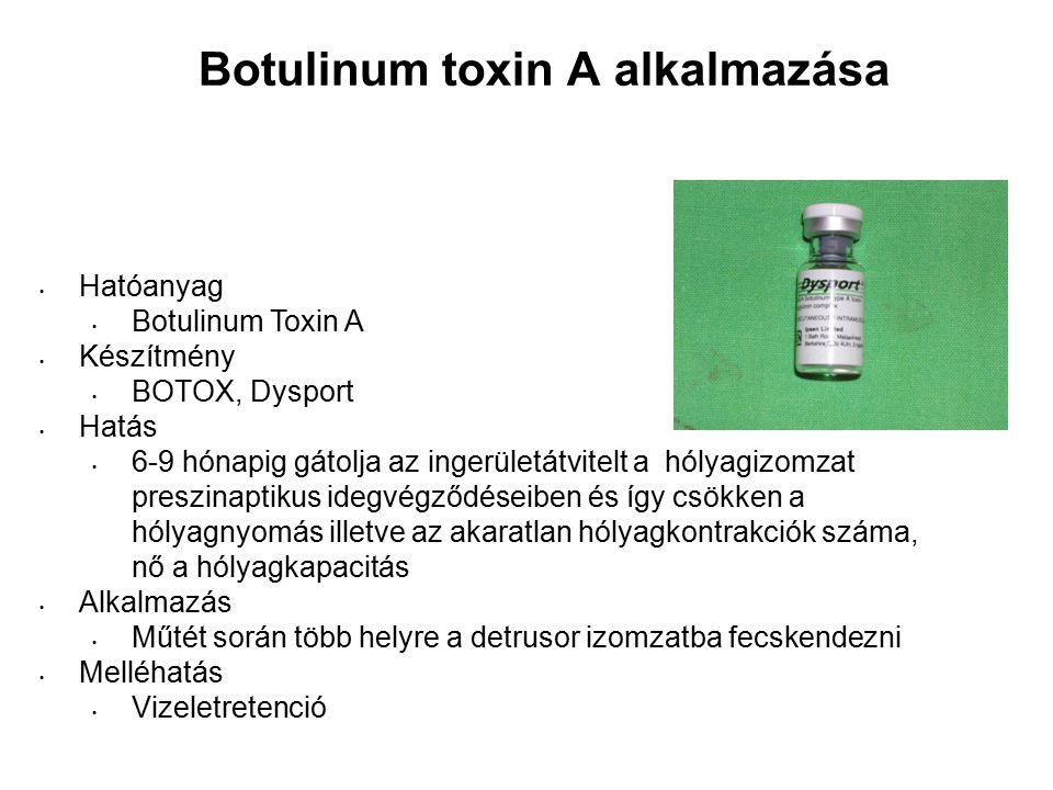 Botulinum toxin A alkalmazása Hatóanyag Botulinum Toxin A Készítmény BOTOX, Dysport Hatás 6-9 hónapig gátolja az ingerületátvitelt a hólyagizomzat preszinaptikus idegvégződéseiben és így csökken a hólyagnyomás illetve az akaratlan hólyagkontrakciók száma, nő a hólyagkapacitás Alkalmazás Műtét során több helyre a detrusor izomzatba fecskendezni Melléhatás Vizeletretenció