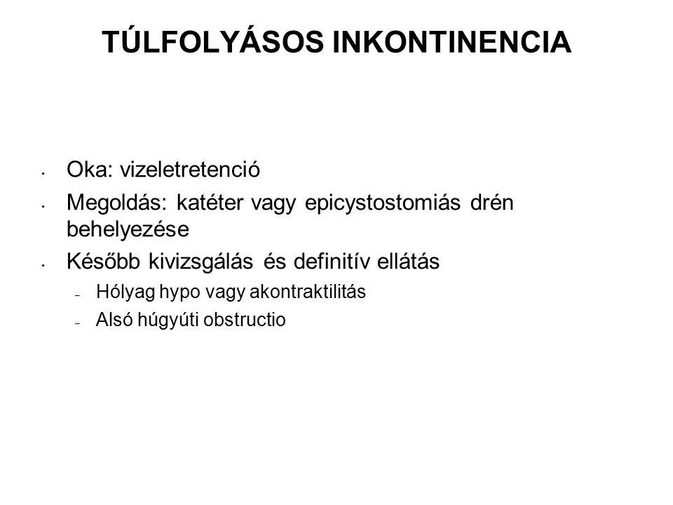 TÚLFOLYÁSOS INKONTINENCIA Oka: vizeletretenció Megoldás: katéter vagy epicystostomiás drén behelyezése Később kivizsgálás és definitív ellátás – Hólyag hypo vagy akontraktilitás – Alsó húgyúti obstructio