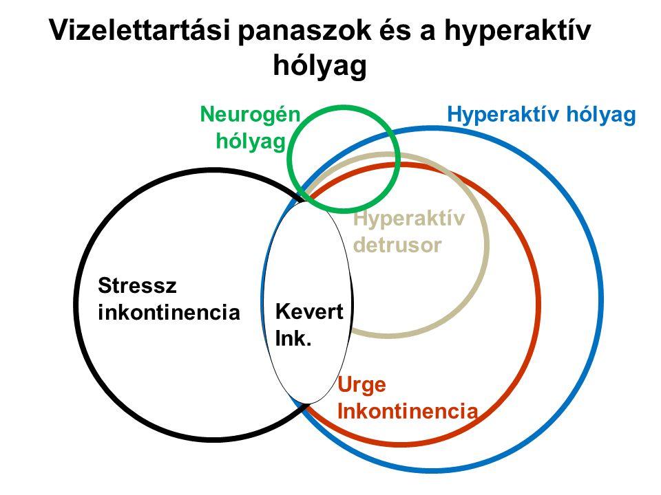 ANATÓMIA ÉS FUNKCIONÁLIS ALAPOK Stabil hólyagműködés – Feltételei: – Ép szenzoros és motoros (kontraktilitás) funkció – Jó hólyagkapacitás és tágulékonyság (compliance) – Nincsenek akaratlan detrusor kontrakciók (detrusor hyperaktivitás) – Sacralis (S2-4) vizelési központ felel a hólyag reflexes (telődés- automatikus ürülés) működéséért – Agyi központokban tudatosul a vizelési inger jelentkezése és itt történik a vizelési ciklus akaratlagos szabályozása Megfelelő záróizom apparátus – Férfiak: izolált külső húgycső záróizom – Nők: a medencefenéki izomzat szerves része, nem különül el olyan élesen, mint férfiakban – Nyugalmi tónus – Akaratlagos relaxációs és kontrakciós képesség