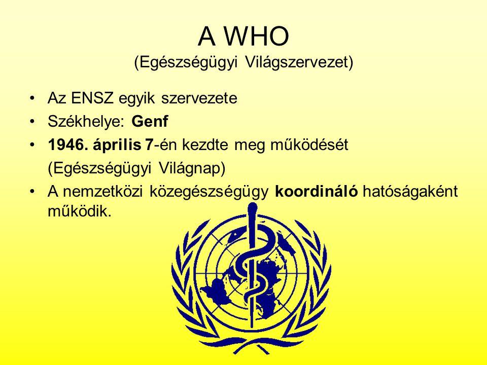A WHO (Egészségügyi Világszervezet) Az ENSZ egyik szervezete Székhelye: Genf 1946. április 7-én kezdte meg működését (Egészségügyi Világnap) A nemzetk