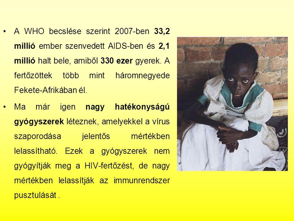 A WHO becslése szerint 2007-ben 33,2 millió ember szenvedett AIDS-ben és 2,1 millió halt bele, amiből 330 ezer gyerek. A fertőzöttek több mint háromne