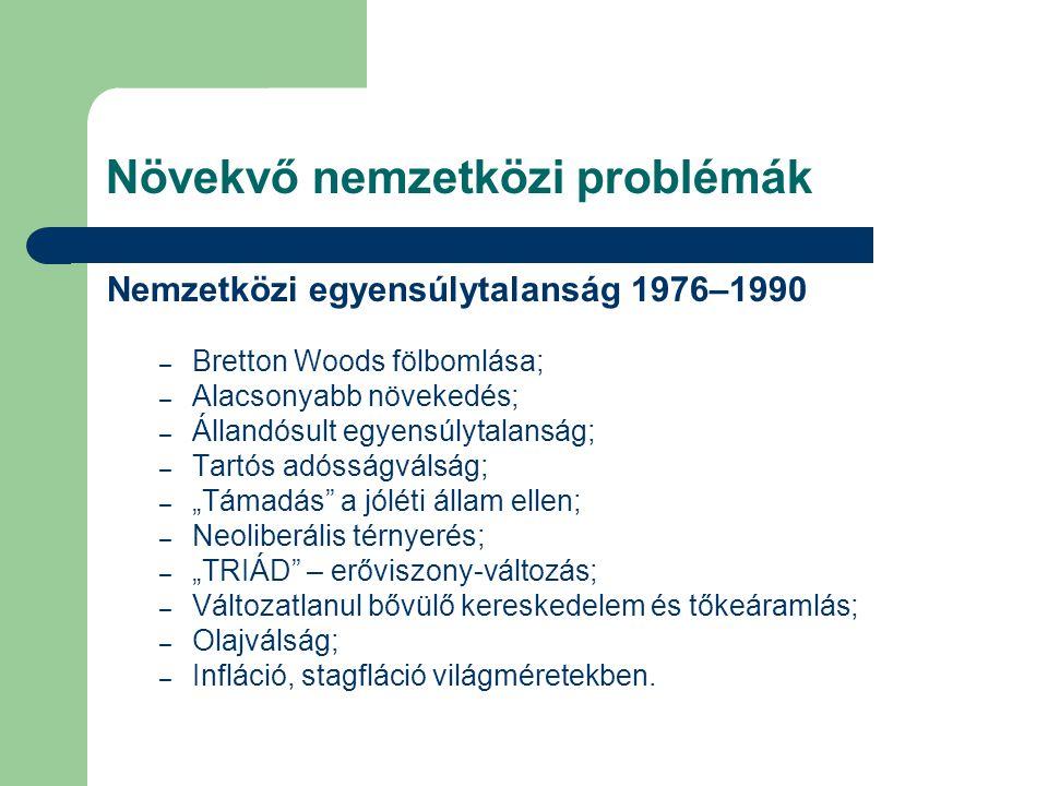Növekvő nemzetközi problémák Nemzetközi egyensúlytalanság 1976–1990 – Bretton Woods fölbomlása; – Alacsonyabb növekedés; – Állandósult egyensúlytalans