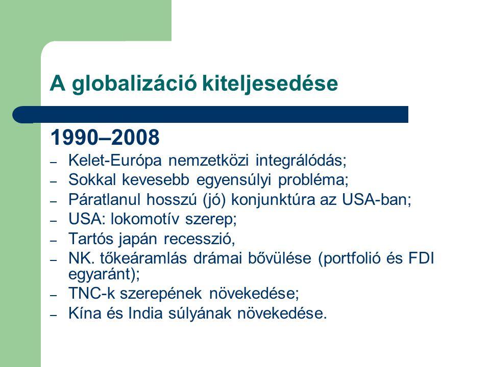 A globalizáció kiteljesedése 1990–2008 – Kelet-Európa nemzetközi integrálódás; – Sokkal kevesebb egyensúlyi probléma; – Páratlanul hosszú (jó) konjunk