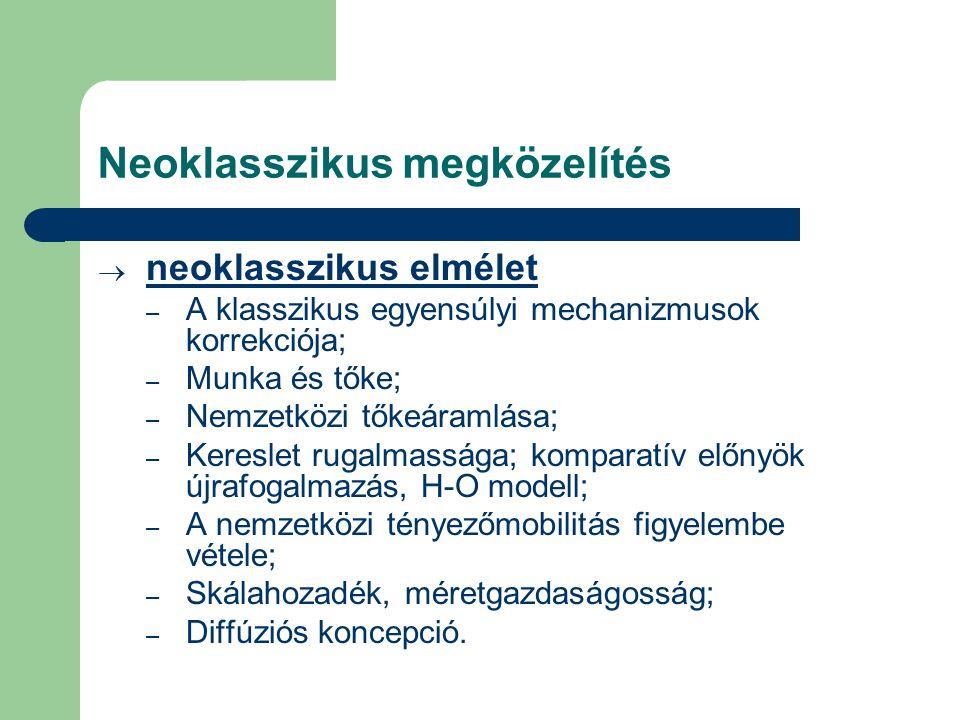 Neoklasszikus megközelítés  neoklasszikus elmélet – A klasszikus egyensúlyi mechanizmusok korrekciója; – Munka és tőke; – Nemzetközi tőkeáramlása; –