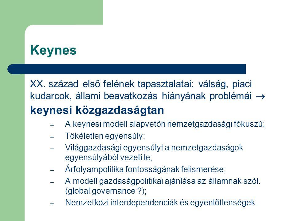 Keynes XX. század első felének tapasztalatai: válság, piaci kudarcok, állami beavatkozás hiányának problémái  keynesi közgazdaságtan – A keynesi mode
