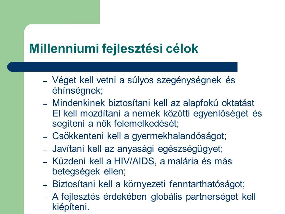 Millenniumi fejlesztési célok – Véget kell vetni a súlyos szegénységnek és éhínségnek; – Mindenkinek biztosítani kell az alapfokú oktatást El kell moz