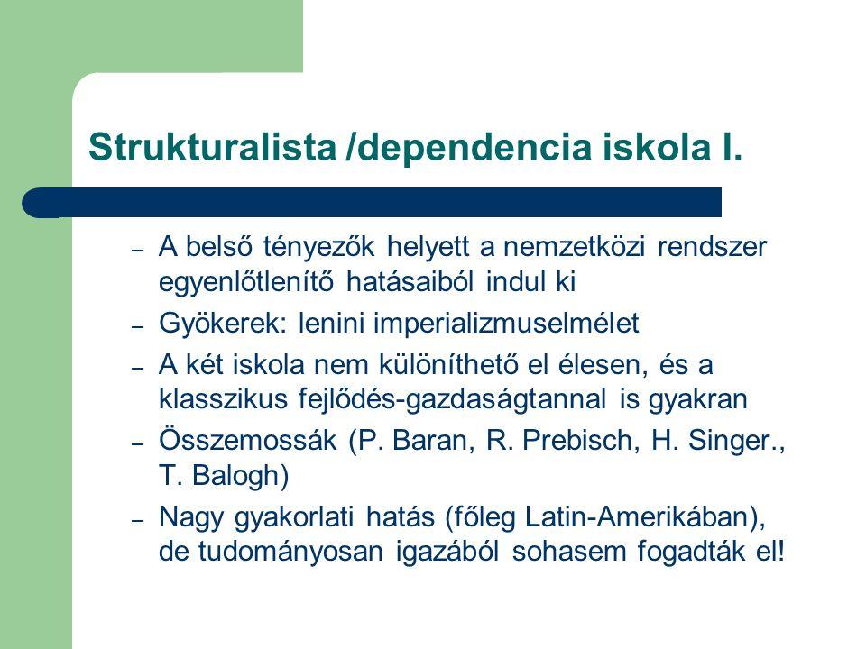 Strukturalista /dependencia iskola I. – A belső tényezők helyett a nemzetközi rendszer egyenlőtlenítő hatásaiból indul ki – Gyökerek: lenini imperiali