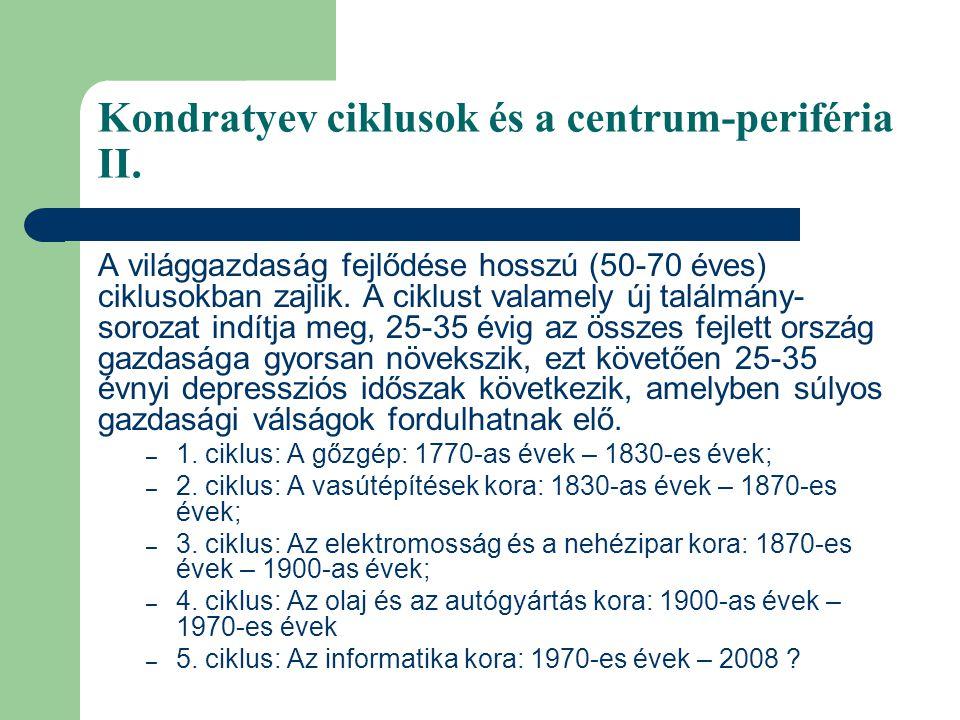 Kondratyev ciklusok és a centrum-periféria II. A világgazdaság fejlődése hosszú (50-70 éves) ciklusokban zajlik. A ciklust valamely új találmány- soro