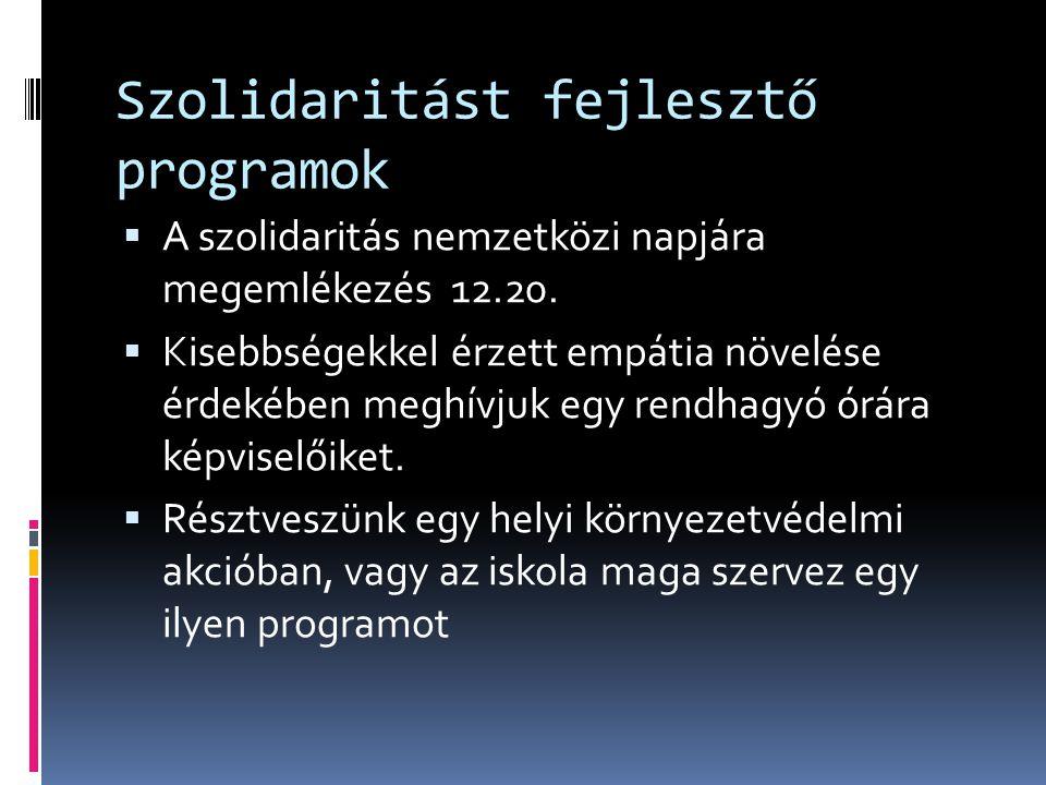 Szolidaritást fejlesztő programok  A szolidaritás nemzetközi napjára megemlékezés 12.20.  Kisebbségekkel érzett empátia növelése érdekében meghívjuk