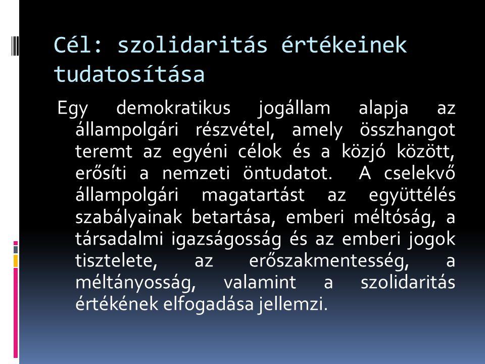Cél: szolidaritás értékeinek tudatosítása Egy demokratikus jogállam alapja az állampolgári részvétel, amely összhangot teremt az egyéni célok és a köz
