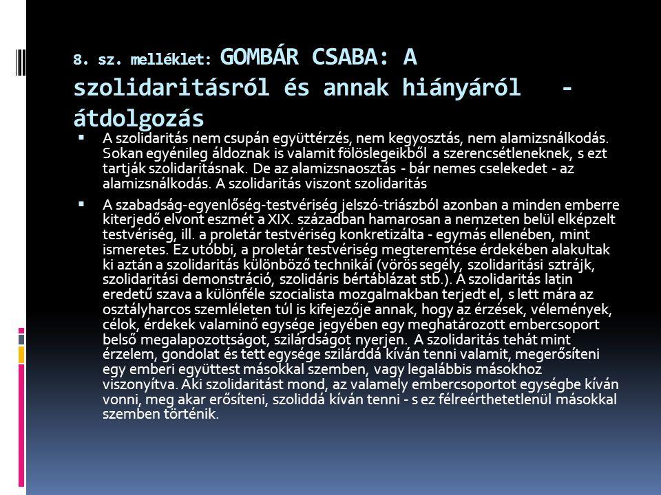 8. sz. melléklet: GOMBÁR CSABA: A szolidaritásról és annak hiányáról - átdolgozás  A szolidaritás nem csupán együttérzés, nem kegyosztás, nem alamizs