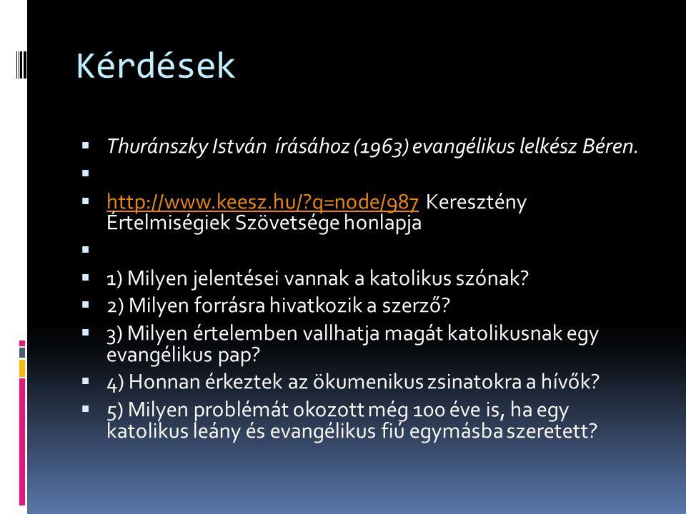 Kérdések  Thuránszky István írásához (1963) evangélikus lelkész Béren.   http://www.keesz.hu/?q=node/987 Keresztény Értelmiségiek Szövetsége honlap
