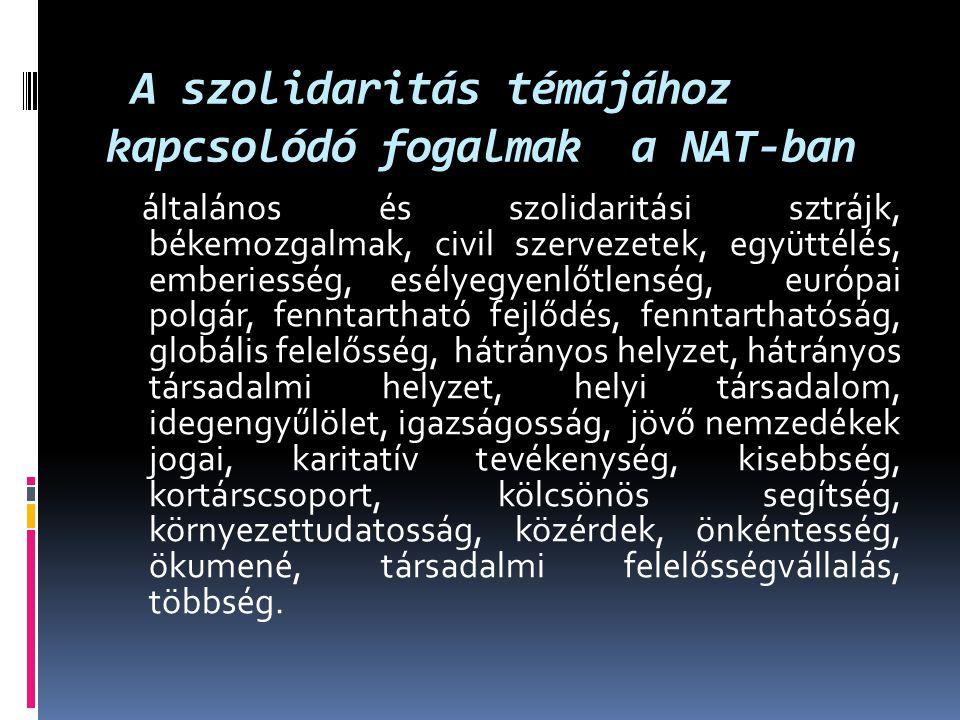 A szolidaritás témájához kapcsolódó fogalmak a NAT-ban általános és szolidaritási sztrájk, békemozgalmak, civil szervezetek, együttélés, emberiesség,