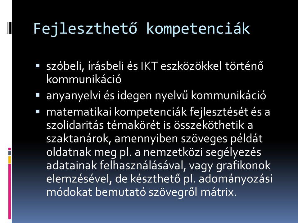 Fejleszthető kompetenciák  szóbeli, írásbeli és IKT eszközökkel történő kommunikáció  anyanyelvi és idegen nyelvű kommunikáció  matematikai kompete