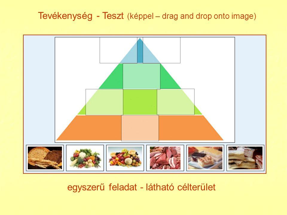Tevékenység - Teszt (drag and drop image) feladatmegoldás - nem látható célterület ellenőrzés - visszajelzés interaktivitás, kurzor mozgatás egérrel
