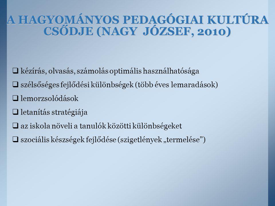 A HAGYOMÁNYOS PEDAGÓGIAI KULTÚRA CSŐDJE (NAGY JÓZSEF, 2010)  kézírás, olvasás, számolás optimális használhatósága  szélsőséges fejlődési különbségek