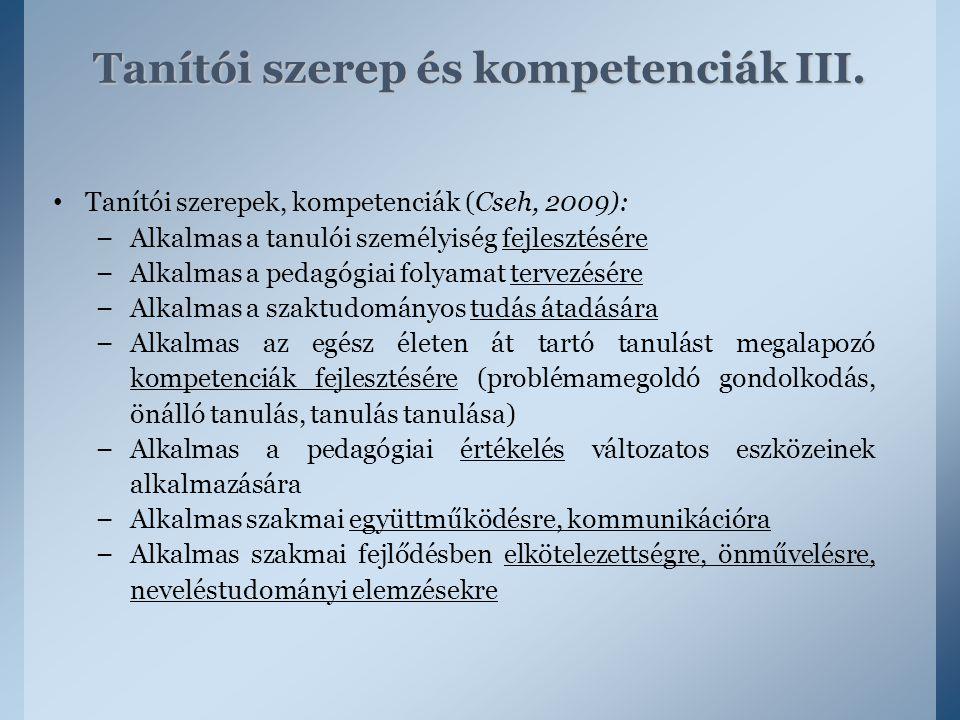 Tanítói szerepek, kompetenciák (Cseh, 2009): – Alkalmas a tanulói személyiség fejlesztésére – Alkalmas a pedagógiai folyamat tervezésére – Alkalmas a