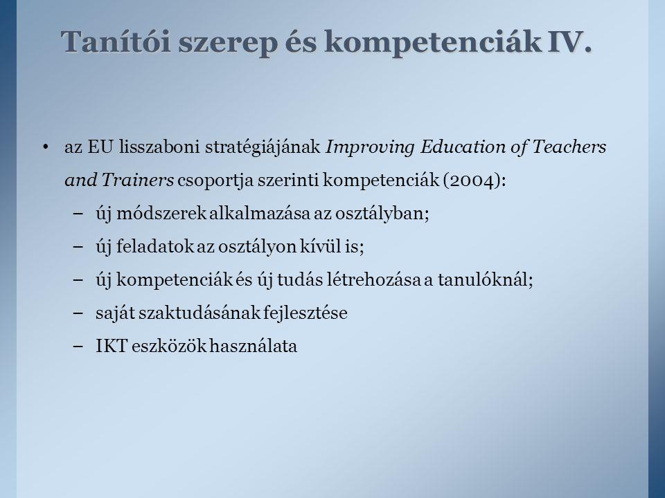 az EU lisszaboni stratégiájának Improving Education of Teachers and Trainers csoportja szerinti kompetenciák (2004): – új módszerek alkalmazása az osz