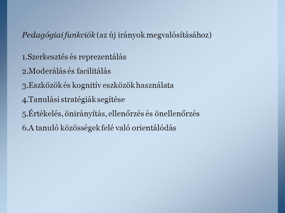 Pedagógiai funkciók (az új irányok megvalósításához) 1.Szerkesztés és reprezentálás 2.Moderálás és facilitálás 3.Eszközök és kognitív eszközök használ