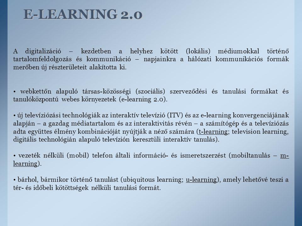 E-LEARNING 2.0 A digitalizáció – kezdetben a helyhez kötött (lokális) médiumokkal történő tartalomfeldolgozás és kommunikáció – napjainkra a hálózati
